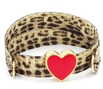 Leopard red smalto heart